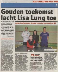 2012-02-20 HET NIEUWSBLAD - Gouden toekomst lacht Lisa Lung toe