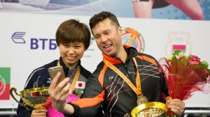 Women's Singles and Men's Singles champions: Hitomi Sato and Vladimir Samsonov (Photo: Masha Kozhdan)
